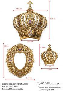 Esquema medidas corona tamaño real