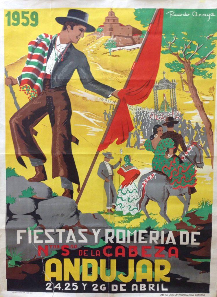 CARTEL DE ROMERÍA DE LA VIRGEN DE LA CABEZA DEL AÑO 1959