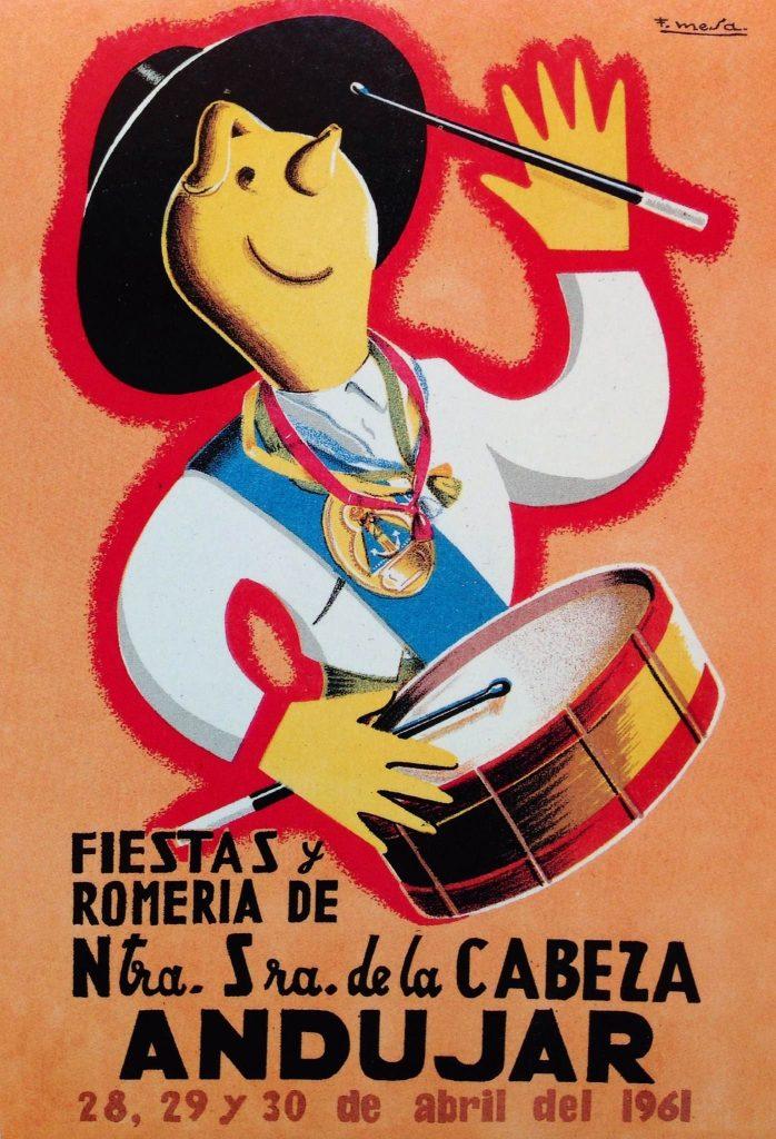 CARTEL DE ROMERÍA DE LA VIRGEN DE LA CABEZA DEL AÑO 1961