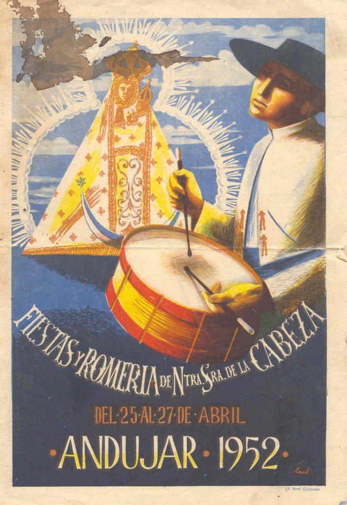 CARTEL DE ROMERÍA DE LA VIRGEN DE LA CABEZA DEL AÑO 1952