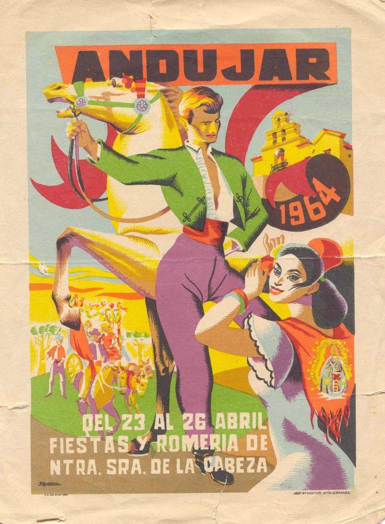 CARTEL DE ROMERÍA DE LA VIRGEN DE LA CABEZA DEL AÑO 1964