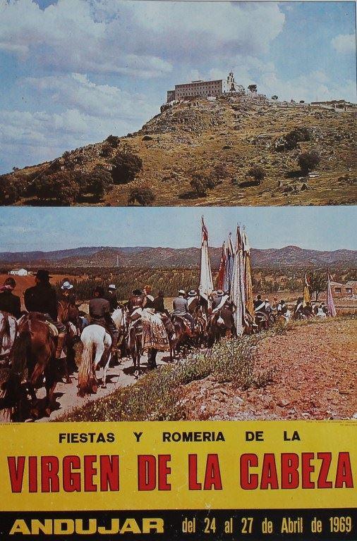 CARTEL DE ROMERÍA DE LA VIRGEN DE LA CABEZA DEL AÑO 1969