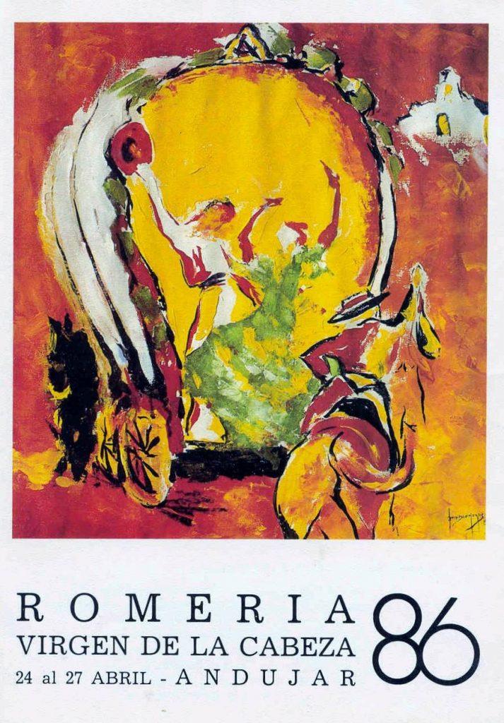 CARTEL DE ROMERÍA DE LA VIRGEN DE LA CABEZA DEL AÑO 1986