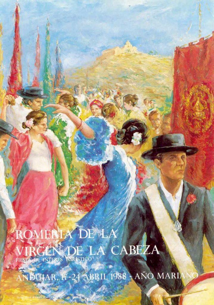 CARTEL DE ROMERÍA DE LA VIRGEN DE LA CABEZA DEL AÑO 1988