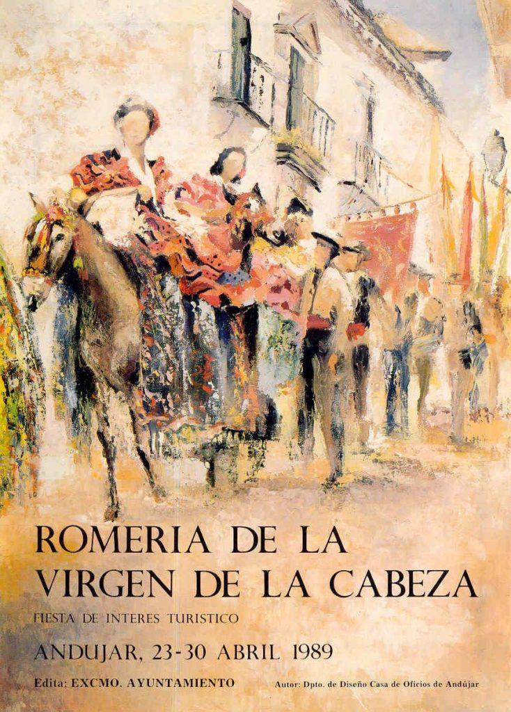 CARTEL DE ROMERÍA DE LA VIRGEN DE LA CABEZA DEL AÑO 1989