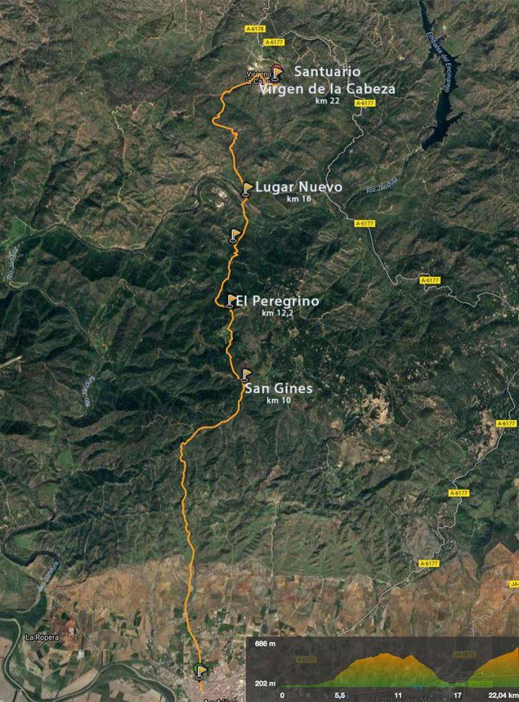 mapa-camino-Andújar-Virgen de la Cabeza