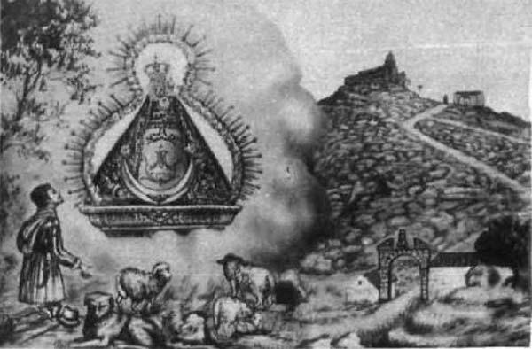 Dibujo aparición Virgen de la Cabeza