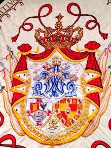 Bandera Matriz Andújar detalle escudo cofradía