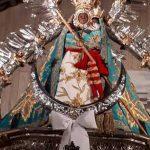 Virgen de la Cabeza manto turquesa frontal