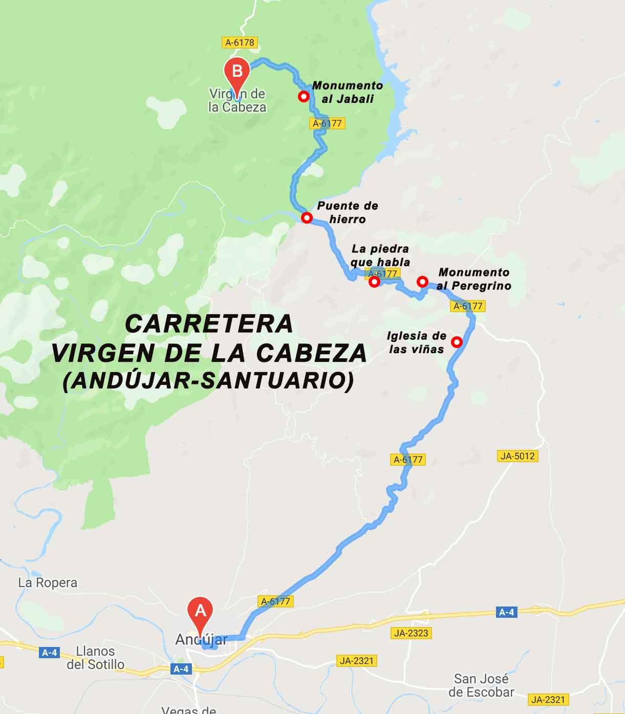 Carretera Virgen de la Cabeza Andújar