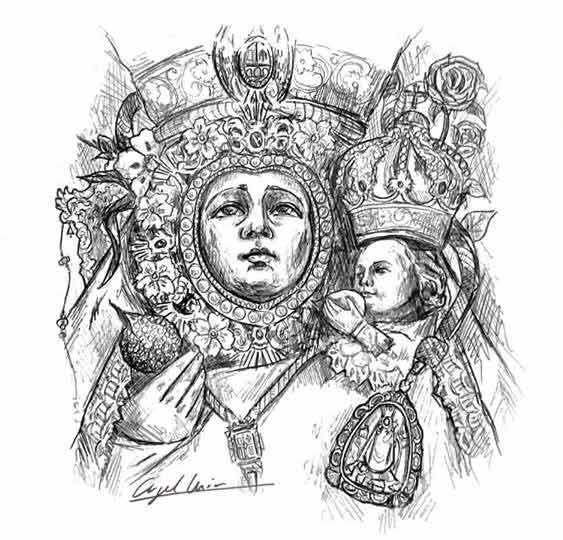 dibujo-Virgen-de-la-Cabeza-Angel-Muñoz