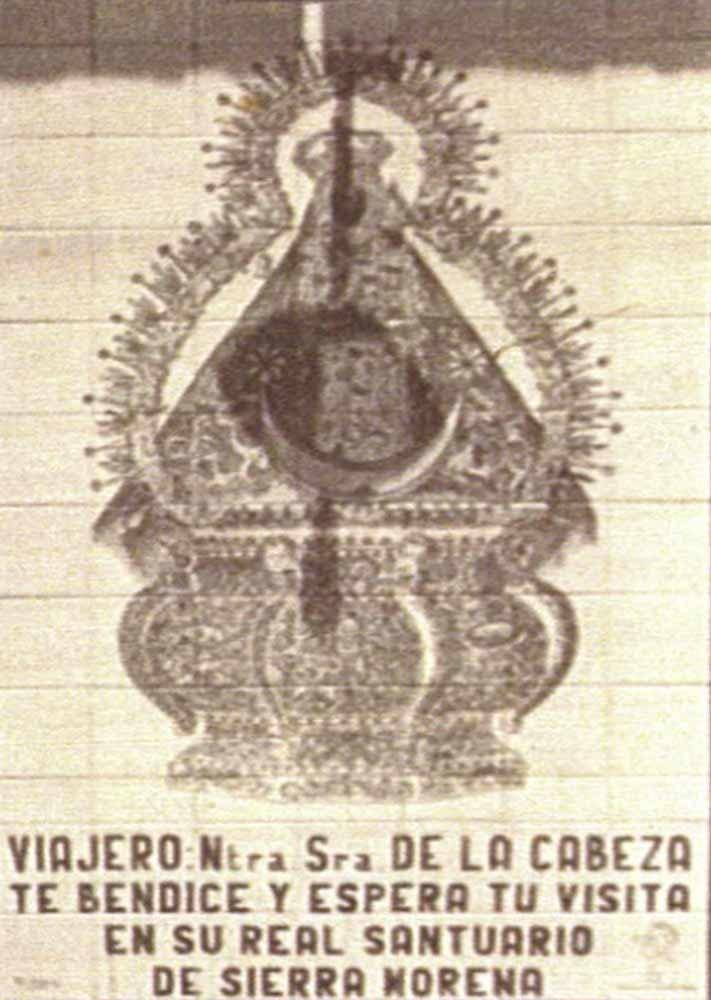 Antiguo azulejo Virgen de la Cabeza estacion trenes Andújar