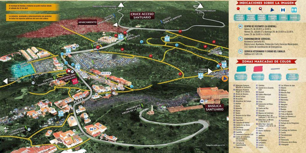 Plano santuario Virgen de la Cabeza romería 2019