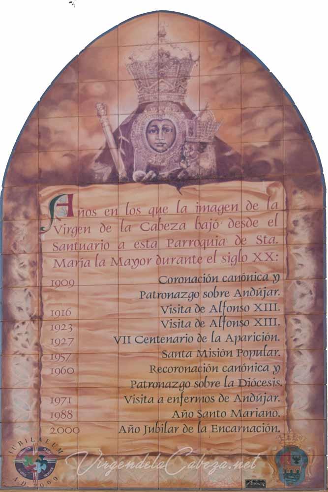 Mural cerámico Virgen de la Cabeza Andújar