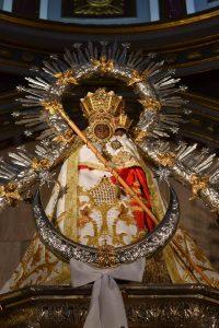 manto Virgen de la Cabeza terciopelo blanco