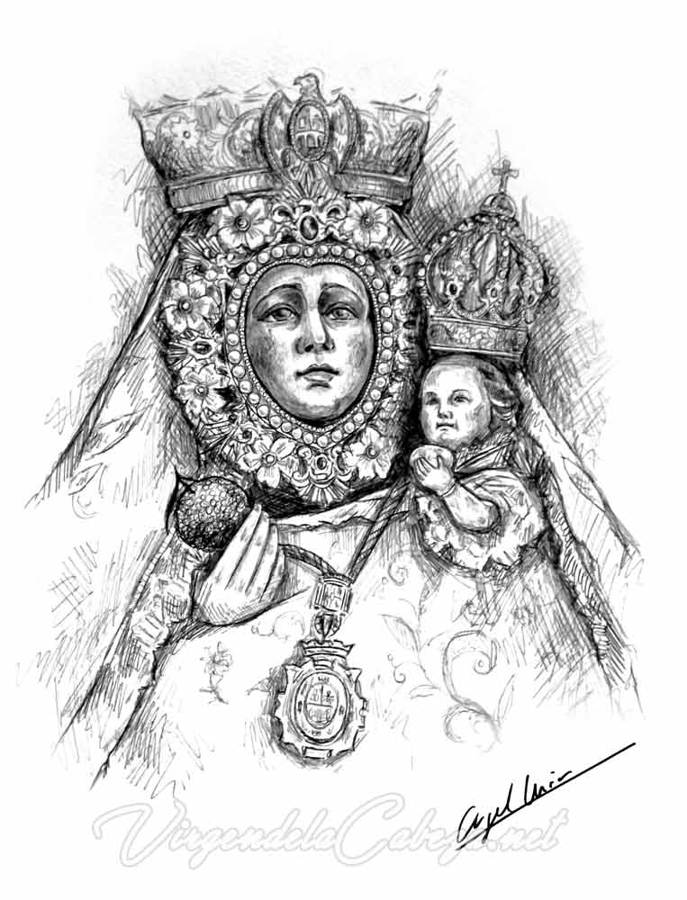 dibujo Virgen de la Cabeza de Angel Muñoz