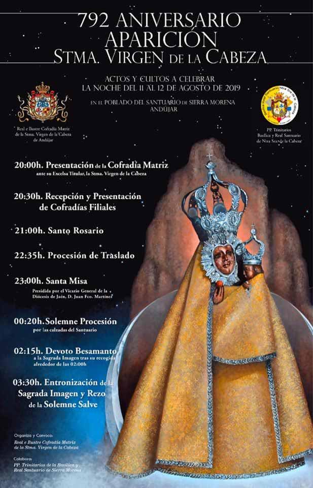 Programa de actos aparición Virgen de la Cabeza 2019