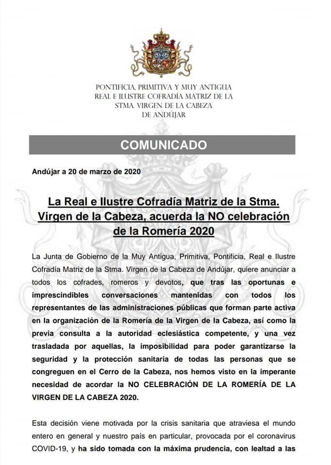 Documento cancelación romería Virgen de la Cabeza 1