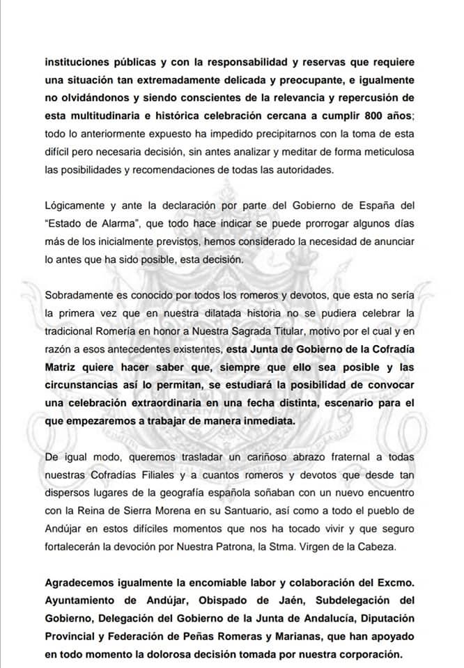 Documento cancelación romería Virgen de la Cabeza 2
