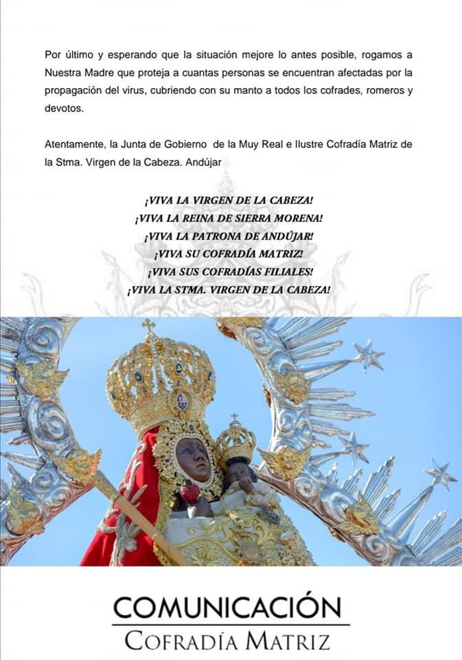 Documento cancelación romería Virgen de la Cabeza 3