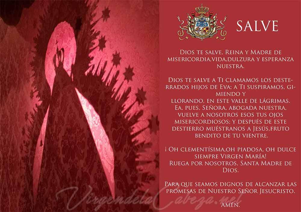 Estampa oración Salve Virgen de la Cabeza