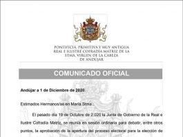 Comunicado aplazamiento elecciones cofradía Matriz