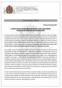 Cancelación romerÍa Virgen de la Cabeza