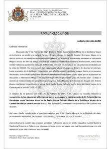 Suspensión de las elecciones a Hermano Mayor y prórroga del actual Antonio Barrios