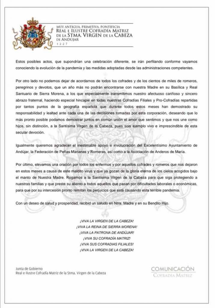 comunicado no celebración romeria obispado jaen andujar