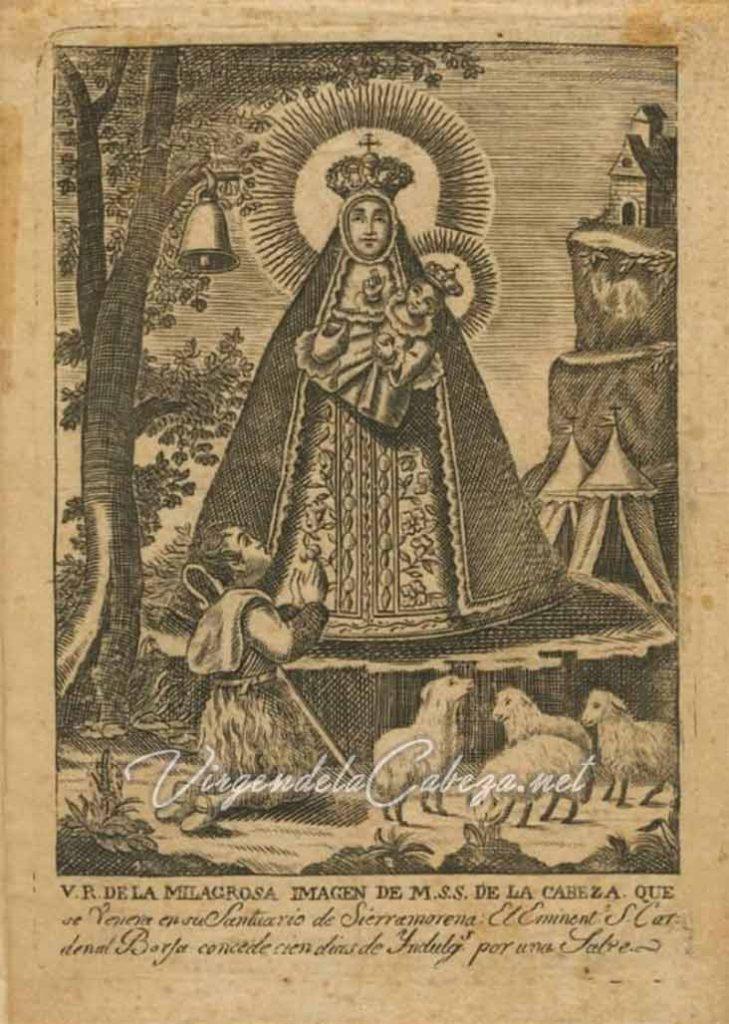 Estampa devocional de Nuestra Señora de la Cabeza fechada el 12 de Abril de 1932