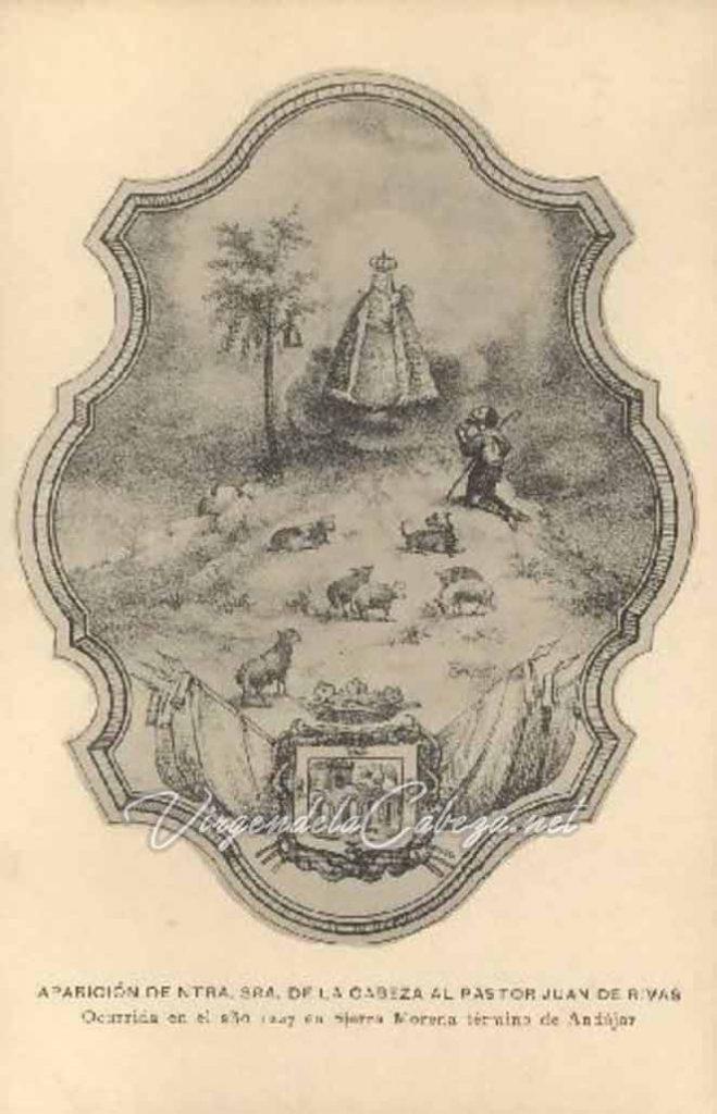 Litografía escena de la Aparición de la Virgen de la Cabeza al Pastor Juan Alonso de Ribas